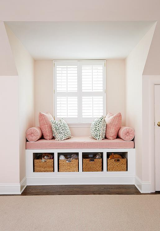 pink-kids-window-seat-nook-built-in-bench-cubbies-dusty-pink-pillows